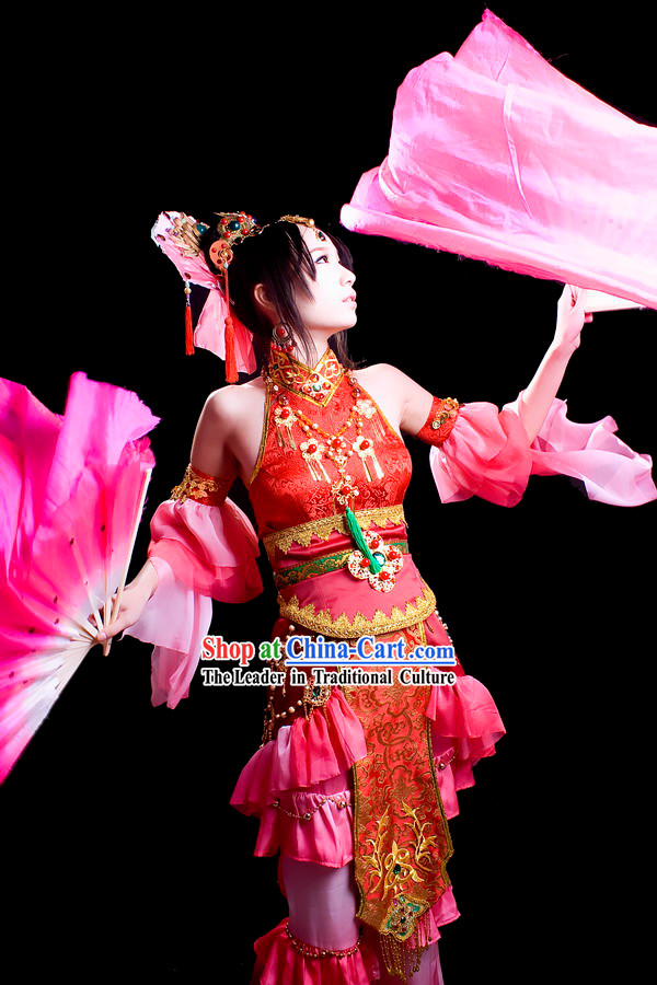 Chinese Fan and Ribbon Dance Costume Complete Set