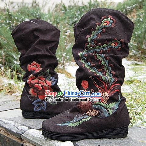 Traditional Embroidered Peony and Phoenix Black Boots