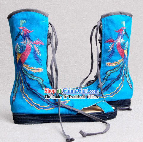 Chinese Embroidered Phoenix Summer Boots