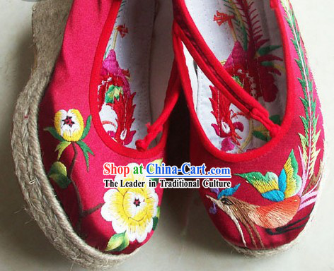 Chinese Handmade Peony Embroidery Shoes