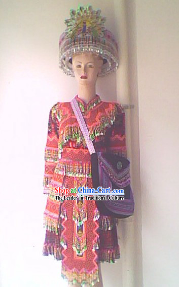 Chinese Stunning Miao Tribe Hand Embroidery Collectible Dress for Woman