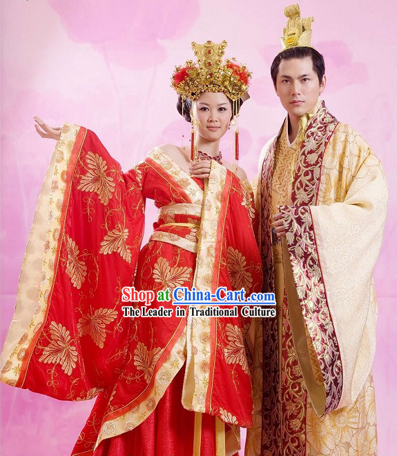 Ancient Chinese Emperor and Empress Wedding Dress for Bride and Bridegroom