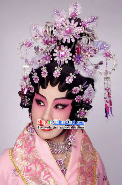 Chinese Traditional Wig and Hair Decoration Complete Set