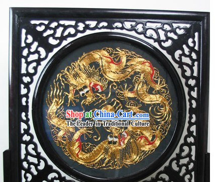 Chinese Double-sided Embroidery Handicraft-Dragon and Phoenix