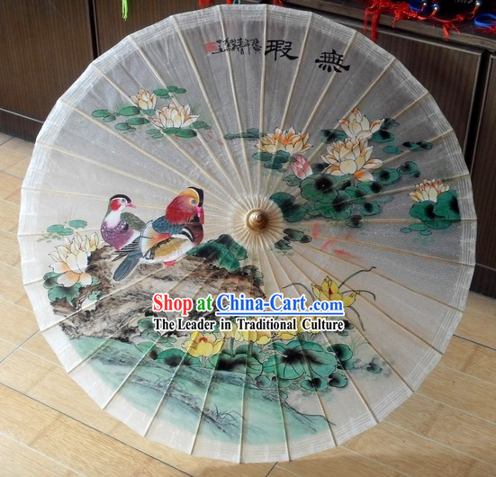 Ancient Chinese Mandarin Ducks Painted Rain and Decoration Umbrella