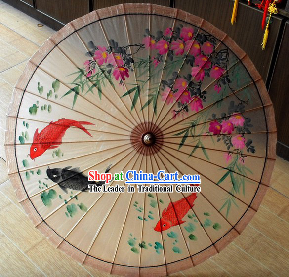Chinese Classical Carp Painting Sun Umbrella