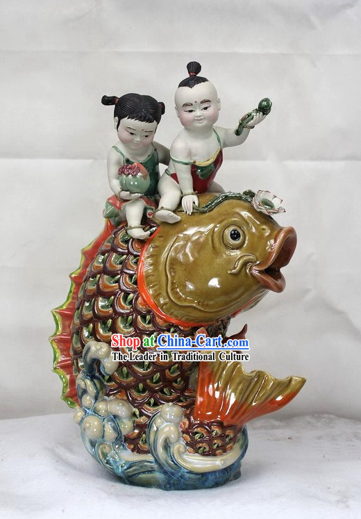 Happy Chinese New Year Shiwan Ceramic Figurine