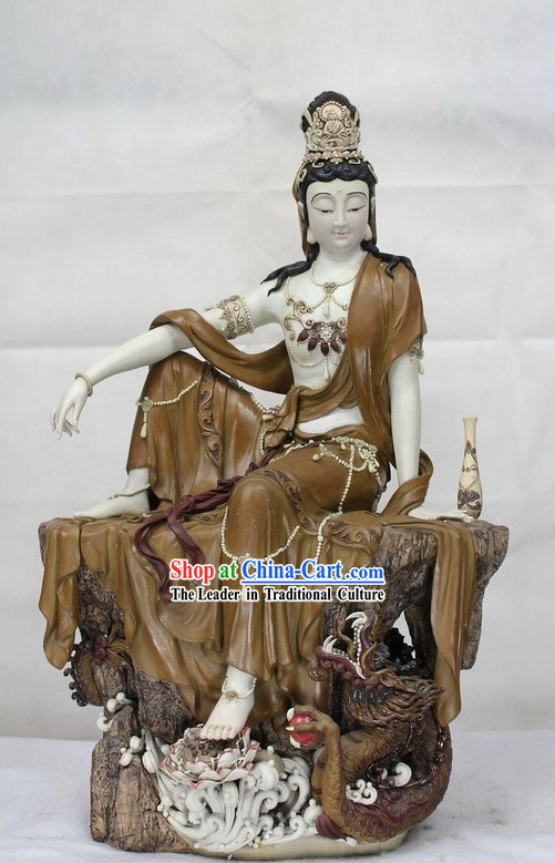 Chinese Dragon and Guan Yin Shiwan Ceramic Sculpture Figurine