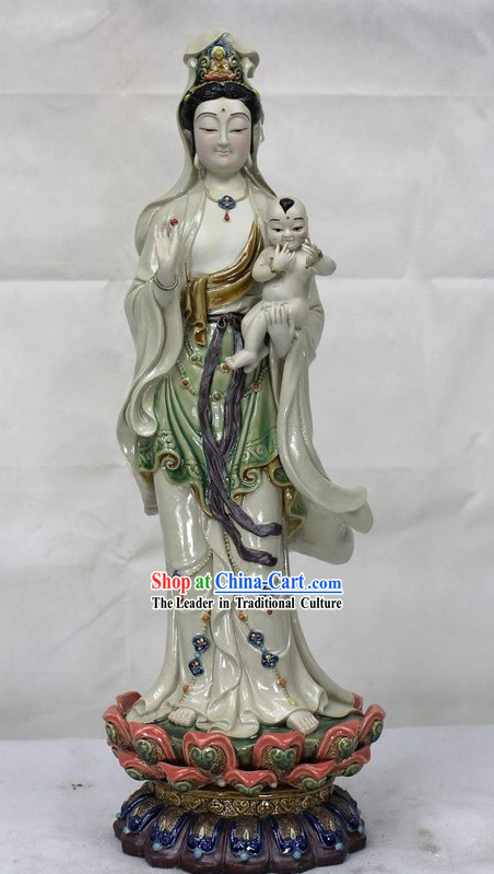 Giving Children Guan Yin Chinese Shiwan Ceramic Figurine