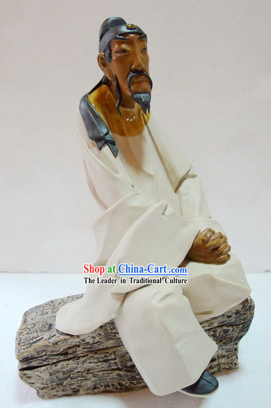 Ancient Poet Bai Juyi Recalling the South Chinese Shiwan Ceramic Figurine