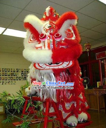 Amazing Festival Celebration Half Red Half White Supreme Handmade Lion Dance Costumes