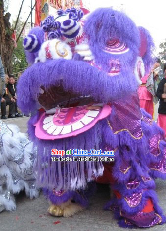 Supreme Happy Restaurant and Hotel Opening Purple Lion Dance Costumes Complete Set