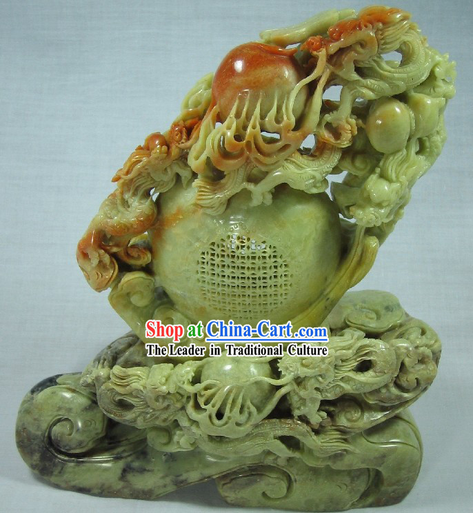 Supreme Chinese Natural Jade - Four Dragons Playing Ball