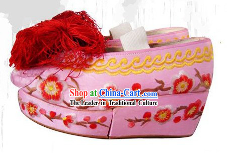 High Sole Peking Opera Embroidered Cherry Blossom Shoes for Women