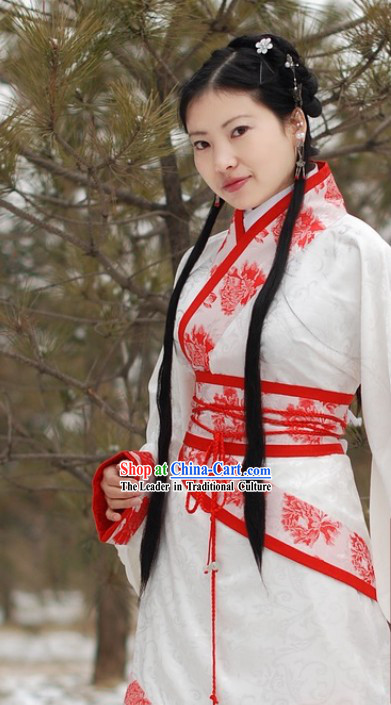Traditional Chinese White Winter Hanfu Garment for Women