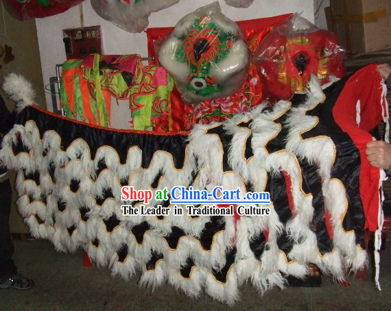 White Sheep Fur Black Undercover Lion Dance Body Tail Pants Claws Set