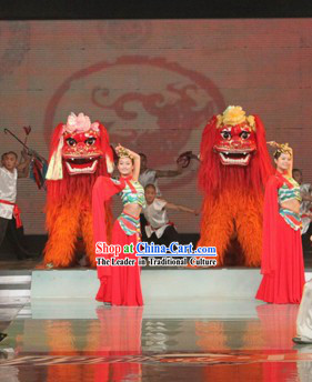 Red Face Long Yak Fur Northern Lion Dance Costume Complete Set