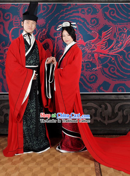 Traditional Chinese Wedding Hanfu Wear 2 Sets for Brides and Bridegrooms