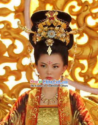 Ancient Chinese Tang Dynasty Women Emperor Headpiece Set