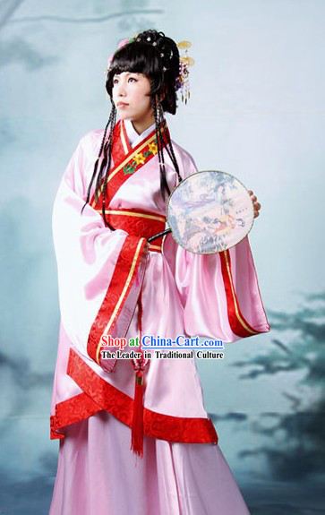 Ancient Chinese Pink Hanfu Flower Dress Complete Set
