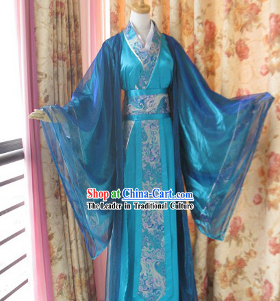 Ancient Chinese Blue Hanfu Clothing for Men