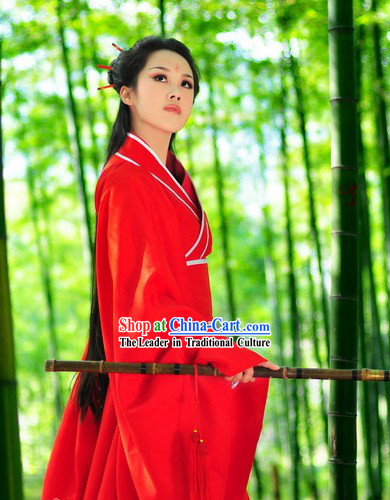 Traditional Chinese Red Hanfu Clothing Complete Set