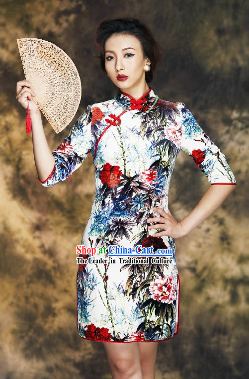 Traditional Chinese Silk Old Shanghai Style Silk Cheongsam