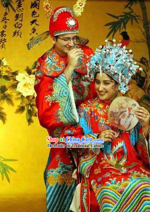 Ancient Chinese Wedding Dresses and Hats 2 Sets for Bride and Bridegroom