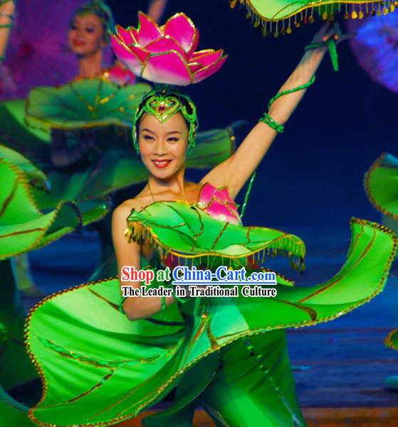 Chinese Lotus Dance Costumes Complete Set