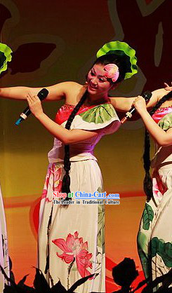 Chinese Hand Painted Lotus Dance Costume Set for Women