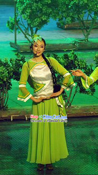 Chinese Folk Dancing Costume and Hair Decoration Set
