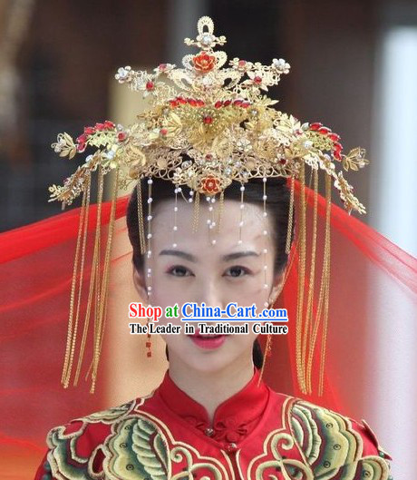 Chinese Golden Wedding Phoenix Crown / Traditional Wedding Hat / Ancient Wedding Hat