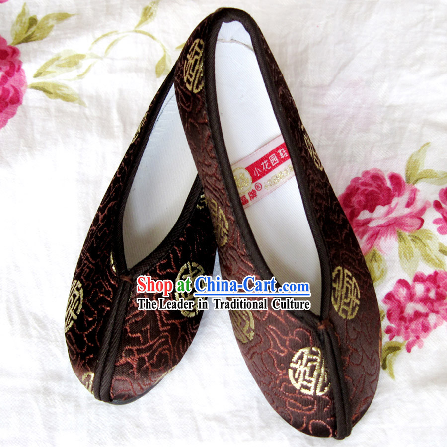 Chinese Brown Embroidery Shoes for Boys