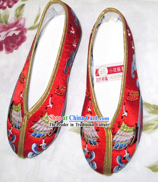 Chinese Red Hanfu Embroidery Shoes for Children