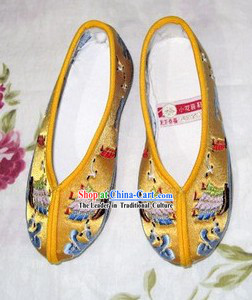 Chinese Yellow Hanfu Embroidery Shoes for Children