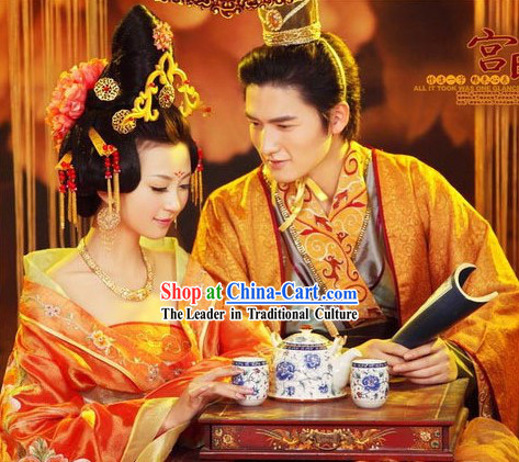 Ancient Palace Emperor and Empress Wedding Dresses 2 Sets
