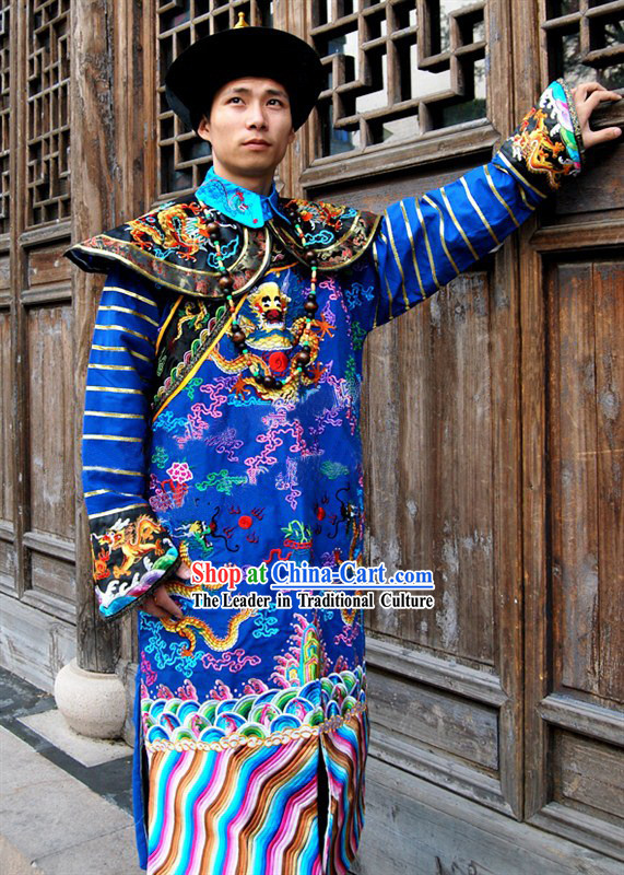 Ancient Chinese Qing Dynasty Official Clothing and Hat Complete Set