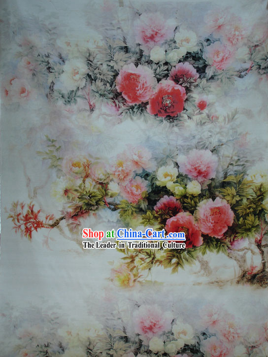 Traditional Chinese Silk Peony Fabric