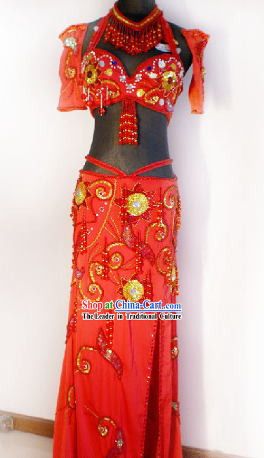 Top Red Belly Dance Costumes Complete Set for Women
