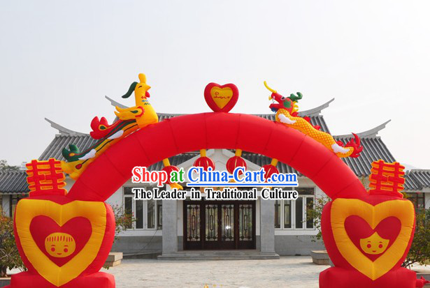 Dragon Phoenix Lanterns Chinese Wedding Inflatable Arch