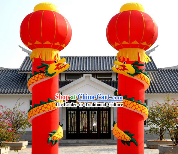 236 Inch High Large Inflatable Dragon Column