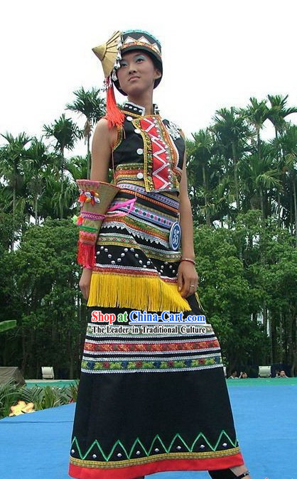 Lagu Minority Traditional Costume and Hat Complete Set