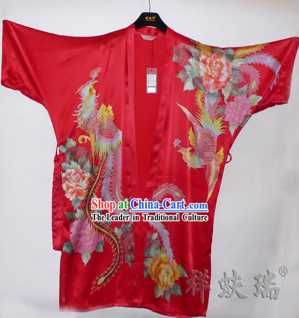 Rui Fu Xiang Hand Painted Phoenix Silk Gown for Women