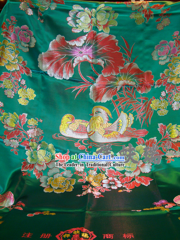 Chinese Peking Rui Fu Xiang Green Wedding Brocade Bedcover