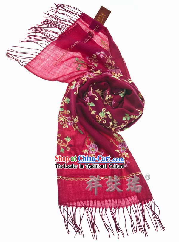 Traditional Chinese Rui Fu Xiang Flower Wool Scarf