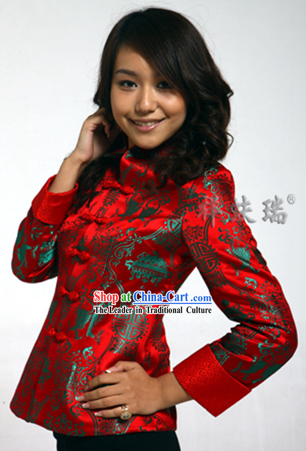 Traditional Chinese Rui Fu Xiang Lunar Year Red Dress for Women