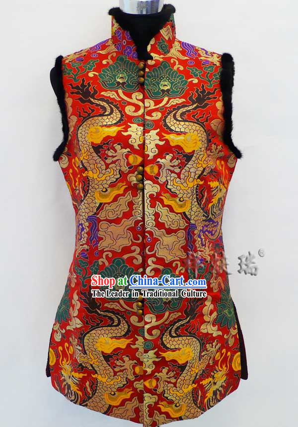 Famous Time-honored Rui Fu Xiang Silk Brocade Dragon Jacket for Women