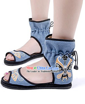 Traditional Chinese Summer Embroidered Opera Masks Sandals