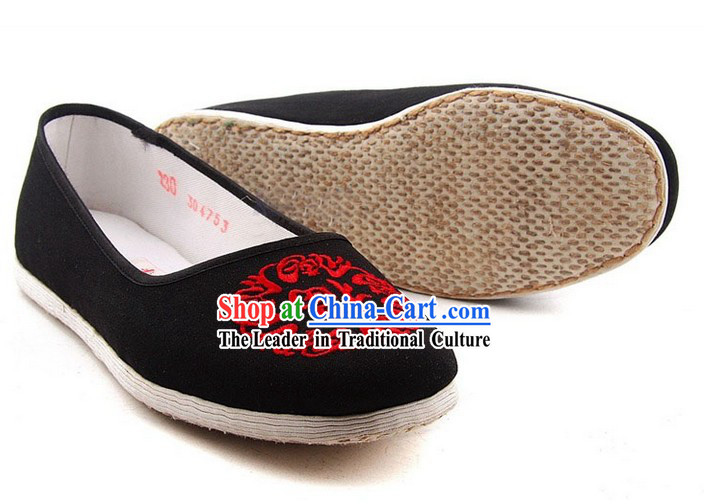 Traditional Chinese Beijing Bu Ying Zhai Black Cloth Shoes for Women