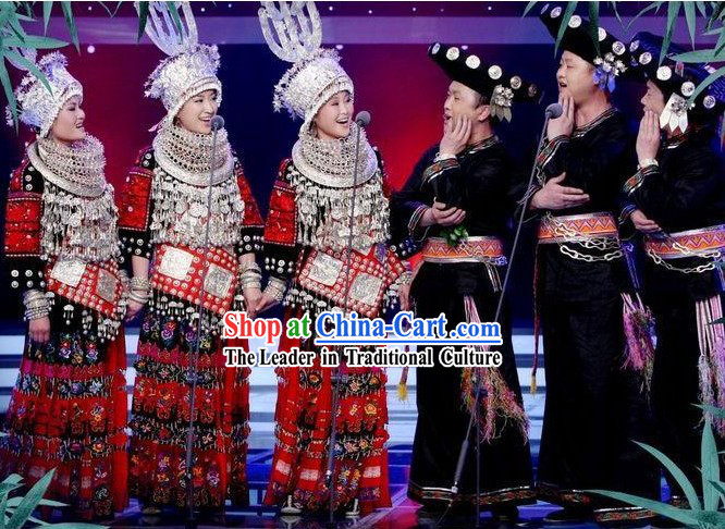 Chinese Miao Male and Female Clothing and Hats 2 Sets